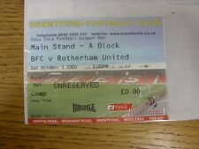 01/10/2005 Ticket: Brentford v Rotherham United  (folded). Any faults with this