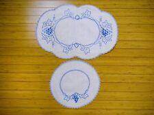 Vintage Embroidered Blue Dresser Scarf Doily 2 Piece Set w Crocheted Lace Trim
