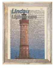 Lindau Lighthouse Germany Altered Art Print Upcycled Vintage Dictionary Page
