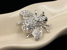 new sparkly clear white crystal bee fly brooch pin animals insects accessory D12