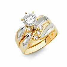 14k Two Tone Gold Engagement Ring and Wedding Band 2 Piece Set
