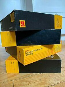 Lot of 4 - Kodak Carousel Transvue 80 Slide Trays, original box vintage.