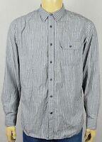 Banana Republic Gray Striped Modern L/S Dress Shirt Mens Large COTTON