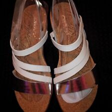 DKNY White and Silver Sandals Sz 9