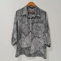 Liz Jordan Size 16 Black & White Button Up Long Sleeve Shirt Lightweight
