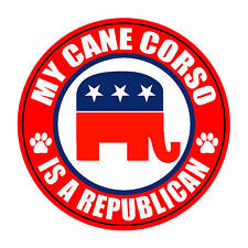 "My Cane Corso Is A Republican 5"" Dog Political Sticker"