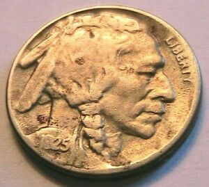 1925-S Buffalo Nickel Very Good (VG+) Full Date Original Indian Head 5C USA Coin