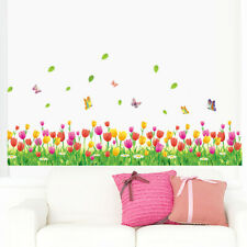Tulip Flower Grass Butterflies Wall Foot Stickers Colorful Room Kids Home Decor