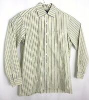Ralph Lauren Purple Label Mens Medium Yellow Striped Blue Cotton Button Up Shirt