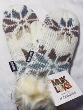 Muk Luks Mittens - Beige, Brown Gray and Cream - Winter White - Snowflake - WARM