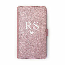 Personalised Initials Heart Rose Pink PU Leather Glitter Flip Phone Case