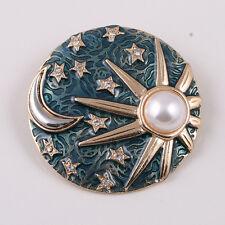 Fashion Blue Enamel Round Sun and Moon Pin Brooch Nice Quality