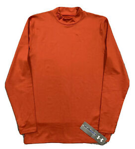 NWT! Under Armour Evo ColdGear Fitted Base Layer Mock Training Shirt  M  Orange