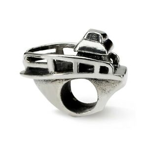 Boat Bead .925 Sterling Silver Antique Finish Reflection Beads