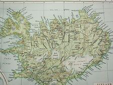 1919 LARGE MAP ~ DENMARK & ICELAND POPULATION BORNHOLM FAROE ISLANDS