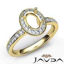 Halo Pave Setting Oval Diamond Engagement Semi Mount Ring 14k Yellow Gold 0.45Ct