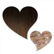 Extension Clip Cheveux véritables SANS COUTURE ombré brun foncé / Blond