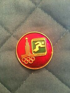 OLYMPIC MOSCOW RUSSIA 1980 TRACK & FIELD PIN-Colorful and impressive!