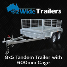 8 x 5 TANDEM BOX TRAILER BRAND NEW GALVANISED WITH CAGE  - FULLY WELDED
