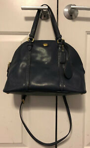Coach Leather Large Hand Bag Blue