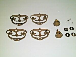 Antique Victorian Pressed Brass 4 Drawer Pulls~ 2 Knobs ~4 Key Hole Covers