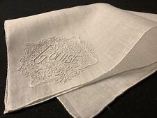 "#7956🌟PREMIUM Vintage C1800s French Monogram ""LOUISE"" Wedding Handkerchief Heir"