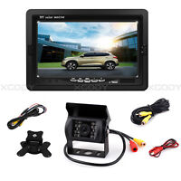 """Wired 7"""" TFT LCD Monitor & Reversing Camera Car Rear View System Night Vision"""