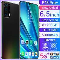 "NEW 6.5"" 8GB +256GB Android 10.0 Dual SIM Unlocked Mobile Smart Phone P43 pro"