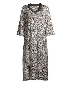 Women's Plus 4X 26W-28W  Midi Lounger Nightgown Pajamas Leopard 3/4 Sleeve NEW