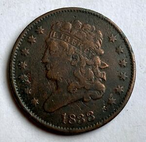 USA HALF CENT 1833