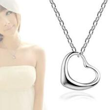 Fashion Women Silver Open Heart Pendant Chain Necklace Sterling Silver  SP~