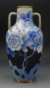 Japanese Morimura Brothers Nippon Porcelain Vase w/ Blue & Yellow Peony Flowers