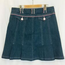 Mac & Jac  Pleated Skater Girl Denim Skirt. Women's. Size 12. Pink Trim.
