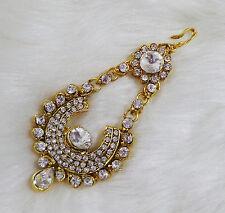 Ethnic Head Piece White Passa Jhoomar Indian Bridal Hair Accessory CZ Jewellery