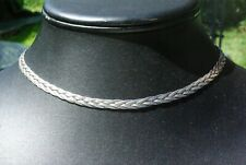Sterling Silver BRAIDED CHOKER Necklace 16 Inches