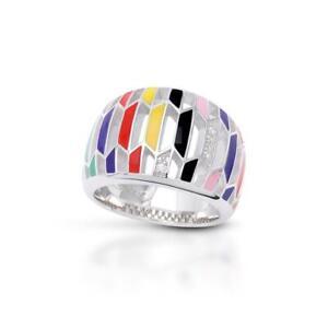 Belle Etoile Trapezio Ring, Italian Enamel, Silver Pave'