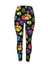Dog Puppy Paw Prints! Tall & Curvy Black Bckgrnd TC Leggings Pants Buttery Soft