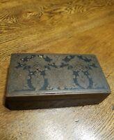 Antique Art Nouveau 1900 Dutch Enamel Brass Wood Lined Hinged Box