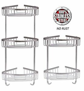 STAINLESS STEEL SHOWER CADDY RUST FREE BATHROOM SHELF CORNER ORGANIZER BASKET