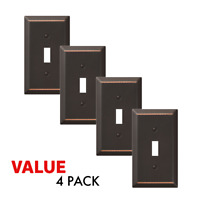Value 4-Pack Toggle Light Switch Wall Plate Decorative, Oil Rubbed Bronze