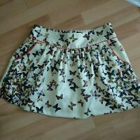 Ted Baker Size 2 Ladies Butterfly Skirt UK 10 Lined And Side Pockets Satin Feel