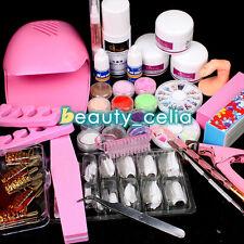Pro Acrylic Powder Glitter Liquid Dryer Nail Brush French Tips Tweezer Tools Kit