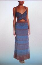M MISSONI Blue Brown Metallic Cut Out Maxi Dress Italy NWT 40 6 $1000