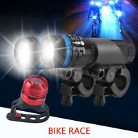 2X CREE Q5 LED Mountain Bike Zoomable Head Front Lights SET + Rear Light LN