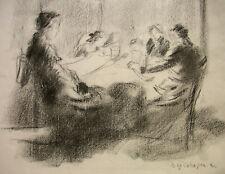 MAX MAYRSHOFER ´FAMILIENBESUCH, FAMILIE AM KRANKENBETT, KOHLEZEICHNUNG, ~1930