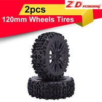 2pcs ZD Racing 17mm HEX&120mm Wheels Tires for 1/8 Off-road Car Buggy Redcat HSP