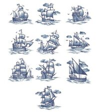 DELFT BLUE SHIPS--    EMBROIDERED QUILT BLOCKS