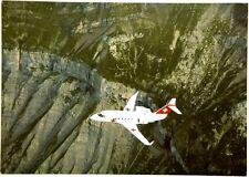 """Cartolina Aviazione - Aereo In Volo Canadair CL 601 """"Challenger"""" Sopra Le Alpi S"""