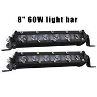 """8"""" 60W LED Led Arbeitsscheinwerfer Lichtbalken 12V 24V Light Bar Lichtleist HOT"""