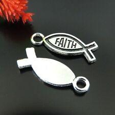 Faith Jesus Fish Ch 00004000 arms Pendants 39227 59Pc Antique Silver Tone Vintage Alloy